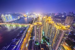 Fuzhou, China. Fuzhou, Fujian, China cityscape on the Ming River Stock Photography
