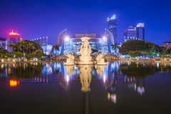 Fuzhou China at Wuyi Square. Fuzhou, China cityscape at Wuyi Square and Fuzhou Grand Theater Royalty Free Stock Image