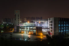 FuZhou University's Library. A full view of FuZhou University's library at night royalty free stock image