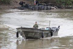 Fuzileiros navais no rio Guaviare Fotografia de Stock Royalty Free