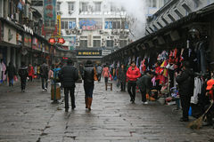 Fuzimiao market street. Nanjing, China - February 26, 2011 - People walking along Fuzimiao market street Stock Images