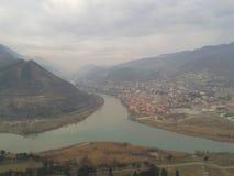 Fuzja dwa rzeki, Gruzja Zdjęcie Stock