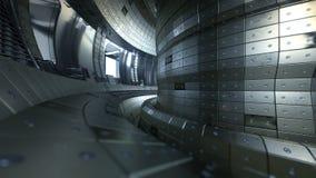 Fuzja reaktoru Tokamak Reakci sala Fuzi władza 3d illus royalty ilustracja