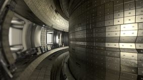 Fuzja reaktoru Tokamak Reakci sala Fuzi władza 3d illus Obraz Stock