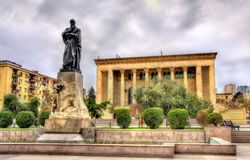 Fuzuli monument in Baku. Fuzuli monument and Drama Theatre in Baku, Azerbaijan Stock Photography
