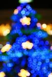 Fuzzy Christmas Tree. Christmas Tree On Dark Night Stock Photo