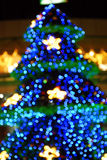 Fuzzy Christmas Tree. Christmas Tree On Dark Night Royalty Free Stock Image