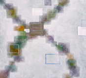 Fuzzy cross painting. An abstract painting using fuzzy squares in a cross motif Stock Images
