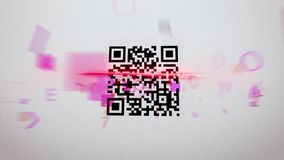 Blurred QR code scanner illustration. Fuzzy 3d illustration of an abstract QR code scanning procedure with rushing symbols, numbers, figures of a pink color. The Royalty Free Stock Photography