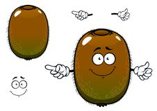 Fuzzy kiwi fruit cartoon character. Ripe kiwi fruit cartoon character with greenish brown fuzzy skin and pointing hand gesture, for agriculture or fresh food Royalty Free Stock Image