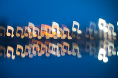 Fuzzy music notation shaped lights Stock Photos