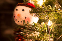 Fuzzy Snowman Ornament Stockfotos