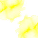 Fuzzy watercolor blots. Yellow fuzzy watercolor blots on white background royalty free stock photography