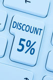 5% fve百分之打折相互按钮优惠券销售网上的购物 库存照片
