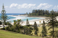 FView of Coolangatta beach and Snapper Rocks from Kirra Point Lookout, Gold Coast Royalty Free Stock Images