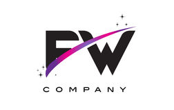 FW F W Black Letter Logo Design with Purple Magenta Swoosh. And Stars vector illustration
