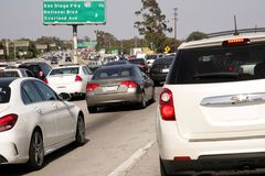 10 Fwy East Traffic Jam Los Angeles Downtown stock images