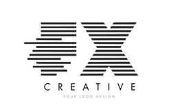 FX F X Zebra Letter Logo Design with Black and White Stripes Stock Image