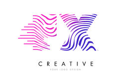 FX F X Zebra Lines Letter Logo Design with Magenta Colors Royalty Free Stock Images