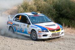 Fx Pro Cyprus Rally. Love Cyprus Stage. 2010. LIMASSOL, CYPRUS - NOVEMBER 7: Driver Savva Savvas (cy) and co-driver Andreas Papandreou (cy) driving Mitsubishi Stock Photos
