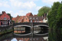 Fye桥梁,河Wensum,诺威治,英国 免版税库存图片