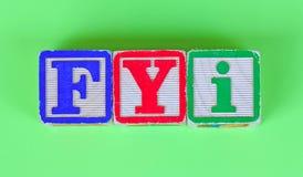 FYI en viejos bloques Imagen de archivo libre de regalías