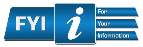 FYI - Il blu di For Your Information arrotondato quadra l'orizzontale illustrazione vettoriale