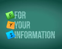fyi for your information board sign illustration Royalty Free Stock Photos