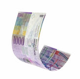 Fying Swiss Francs money. Isolated with clipping path Royalty Free Stock Photos