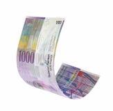 Fying Szwajcarskich franków pieniądze Zdjęcia Royalty Free