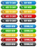 Fyll på till knappar för vagnsbuyen nu Arkivfoton
