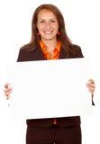 fyll på baneraffärskvinnan Arkivfoto