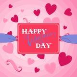 fylla på valentinen för text för kortdag den lyckliga perfekta s Fotografering för Bildbyråer