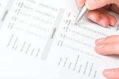 fyllande datalista Arkivbild