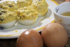 Fyllda ägg på tonfisken Royaltyfria Bilder