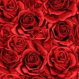 Fyllde den sömlösa modellen för röda rosa blommabukettbeståndsdelar mycket vektor illustrationer