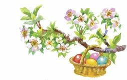 Fyllde den vide- korgen för påskferievattenfärgen med den färgrika äggvektorillustrationen royaltyfri illustrationer