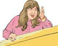 Fyllig mellersta ålderkvinna som visar en väg Kvinna som ger adwice den främmande tecknad filmkatten flyr illustrationtakvektorn  Arkivfoton