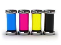 fyllt färgpulver för cmyk behållare Fotografering för Bildbyråer