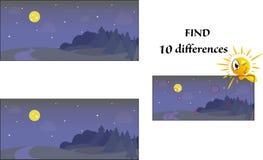 Fynd tio skillnadvisuellt hj?lpmedelbilder royaltyfri illustrationer