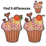Fynd tre skillnader (muffin) Arkivbild