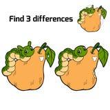 Fynd tre skillnader (päronet och larven) Fotografering för Bildbyråer