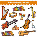 Fynd två samma bilder Vektoruppsättning av musikinstrument Arkivfoton