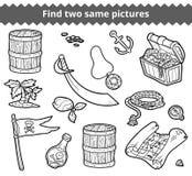 Fynd två samma bilder Vektoruppsättningen av piratkopierar objekt Royaltyfri Fotografi