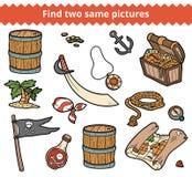 Fynd två samma bilder Vektoruppsättningen av piratkopierar objekt Arkivfoto