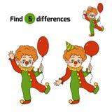 Fyndskillnader för barn: Allhelgonaaftontecken (clown) Arkivfoton