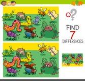 Fyndskillnader med den djura teckengruppen för fel vektor illustrationer