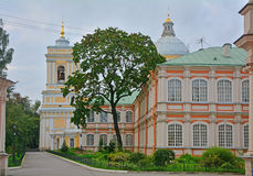 Fyodorovsky (brotherly) case and belfry of Holy Trinity Cathedral in Alexander Nevsky Lavra in Saint Petersburg, Russia Royalty Free Stock Image