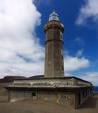 Fyr av Capelinhos, Azores öar arkivbild