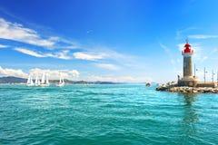 Fyr av St Tropez det medelhavs- landskapet arkivbilder
